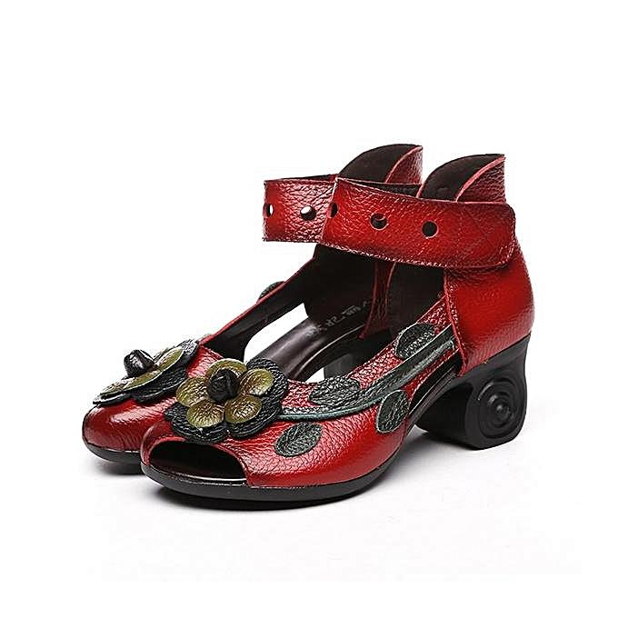 Fashion SOCOFY Fashion Genuine WoHommes  Flower Retro Genuine Fashion Leather Handmade Heeled Sandals-EU à prix pas cher    Jumia Maroc cbc637