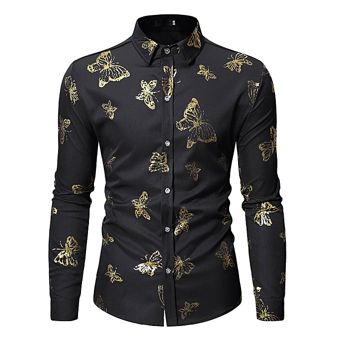 Fashion Fashion Men's Long Sleeve Painting Large Taille Butterfly Casual Top Blouse Shirts à prix pas cher