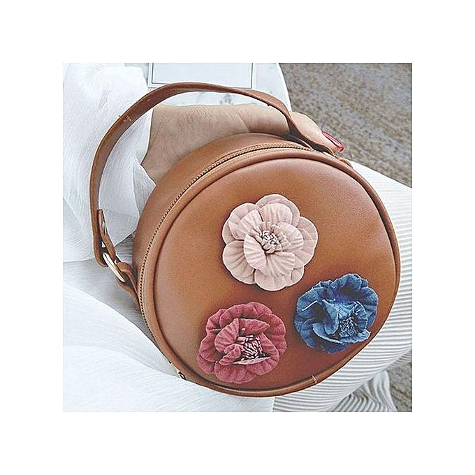Neworldline femmes Fashion Handbag Shoulder Stereo Flowers Bag Small Tote Ladies Purse-marron à prix pas cher