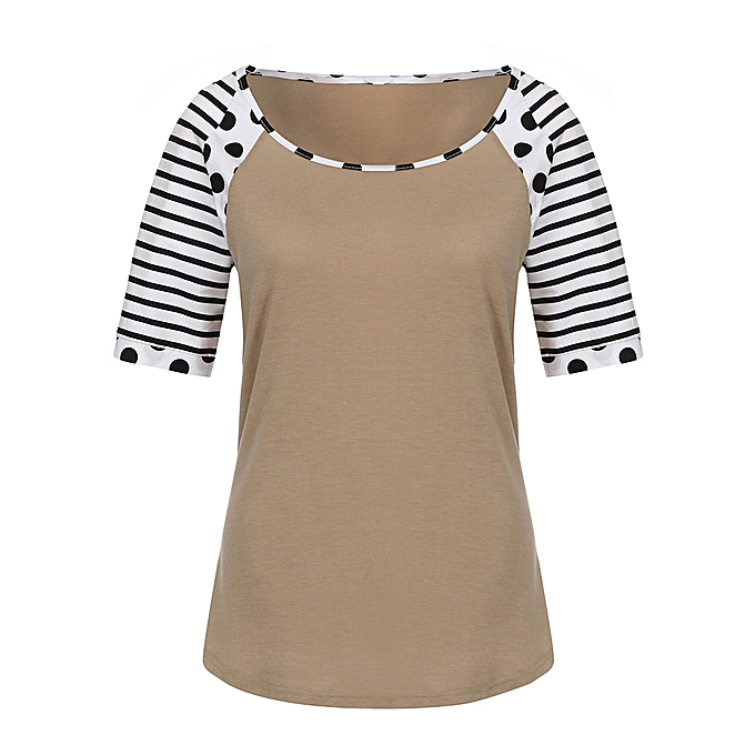 Generic Generic Wohommes Polka Dot And Striped Print  Short Sleeve Round Neck T-Shirts Blouse A1 à prix pas cher