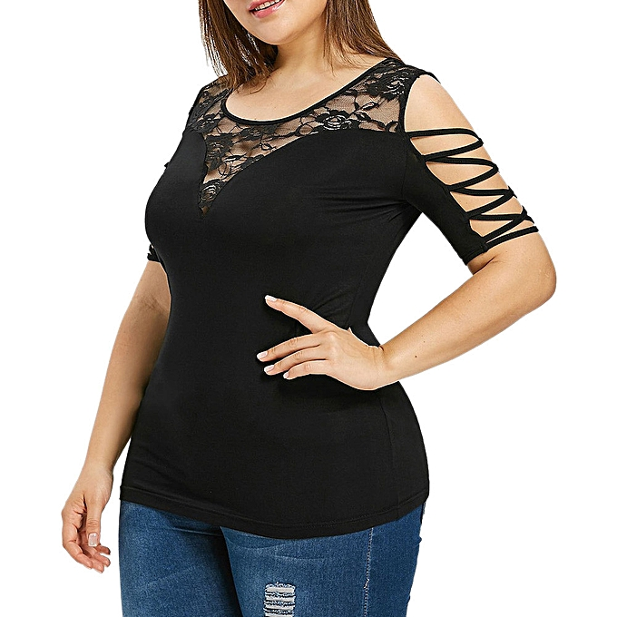 mode mode femmes Plus Taille Criss Cross Strapless Lace O-Neck T-shirt hauts chemisier à prix pas cher