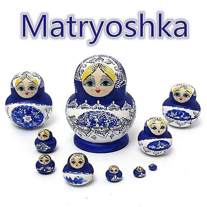 UNIVERSAL 10pcs boisen Russian Hand Painted Nesting Dolls Babushka Matryoshka Present Gift à prix pas cher