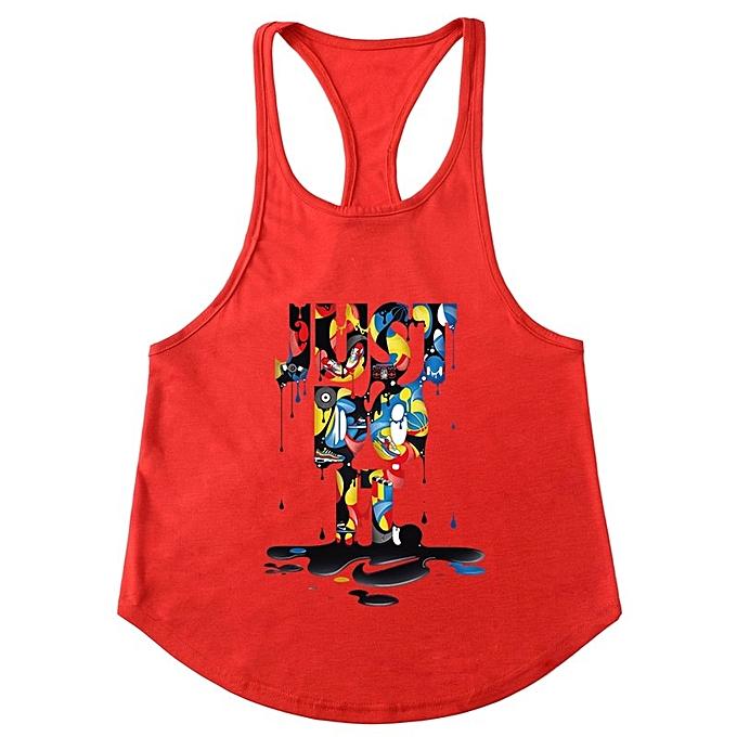 Other Hommes& 039;s été Sports Training Fitness mode Colour JUST DO IT Slim Shoulder Vest-rouge à prix pas cher