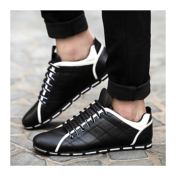 OEM Breathable hommes chaussures, small chaussures, trend, hommes casual lazy chaussures-noir à prix pas cher
