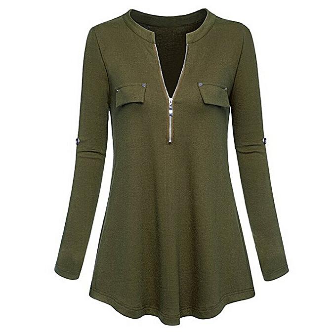 mode (Xiuxingzi) mode Décontracté femmes V Neck manche longue Roll-up Sleeve Zipper Shirt chemisier hauts à prix pas cher