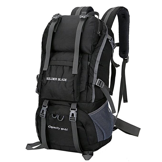 Generic TB grand Taille Hommes femmes de plein air sac à dos Camping sac imperméable Hiking sac à doss-noir à prix pas cher