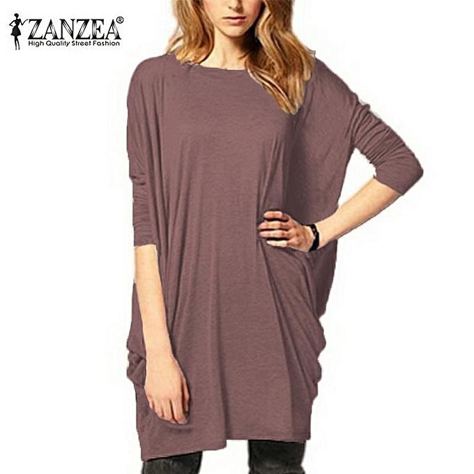 Fashion ZANZEA Stylish femmes Batwing Sleeve OverTaille Blouse Tops Casual Loose Long T Shirt marron à prix pas cher