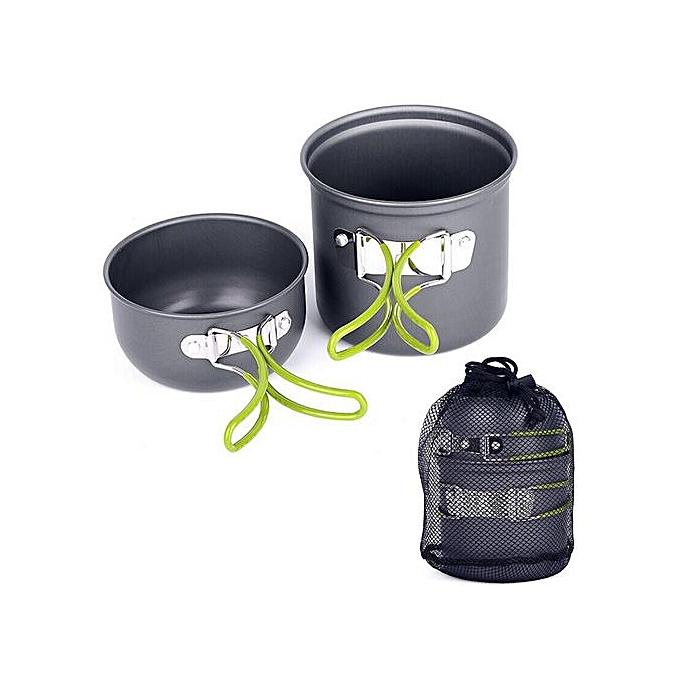Generic Camping Hiking Picnic Cookware Cook Cooking Pot Bowl Set Aluminum Outdoor à prix pas cher