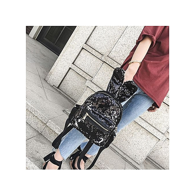 Neworldline Fashion Girls Sequins Backpack femmes Leisure School Bag Travel Pack Backpacks BK-noir à prix pas cher