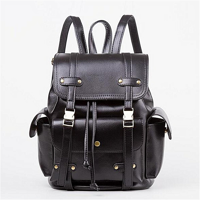 UNIVERSAL Vintage femmes Men PU Leather Backpack Handbag Travel Shoulder Rucksack Tote Bag noir à prix pas cher