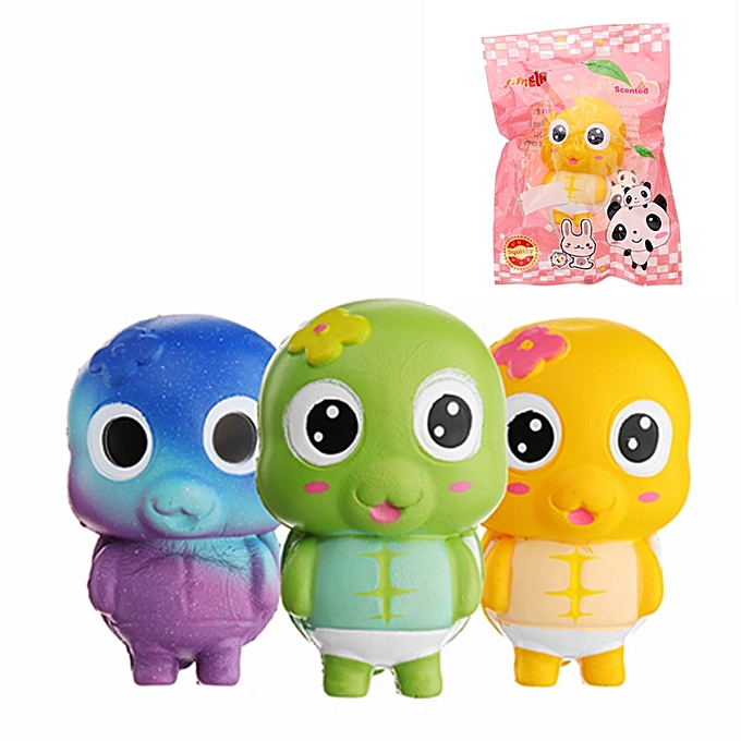 UNIVERSAL Simela Squishy Turtle Tortoise SFaible Rising 11cm Cute Soft Gift Collection Toy With Packing-bleu à prix pas cher