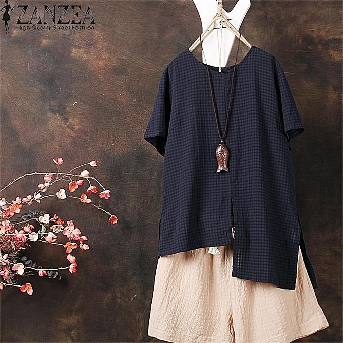 Zanzea ZANZEA femmes Casual Cotton Top T Shirt Tee Check Plus Taille Tunic Blouse à prix pas cher
