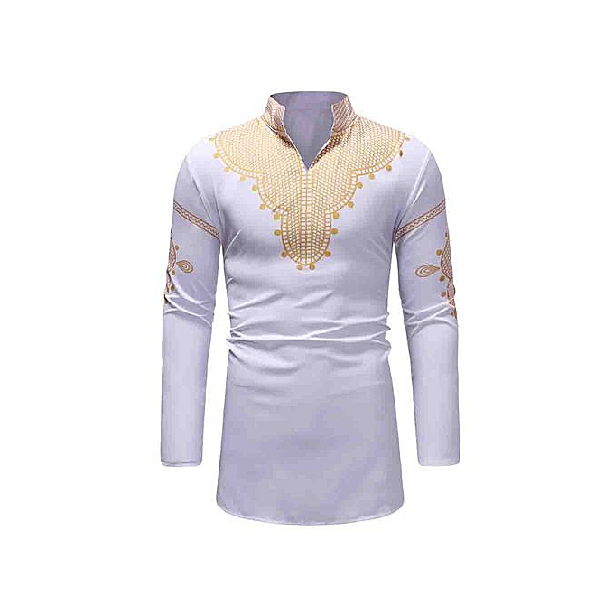 GeneAfrica Male Casual Style Long Sleeve Stand V Neck Printing Men Shirt à prix pas cher