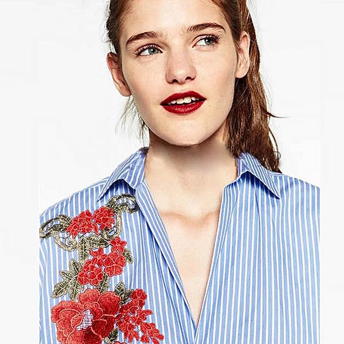 Fashion Hiamok femmes Casual Striped Blouses  Flower Print T Shirts Long Sleeves  Tops à prix pas cher