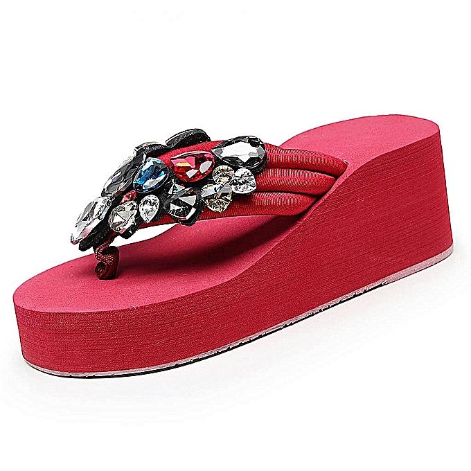 Fashion femmes Ladies Girls Solid Wedges Crystal Flip Flops Sandals Slippers Beach chaussures-rouge à prix pas cher    Jumia Maroc