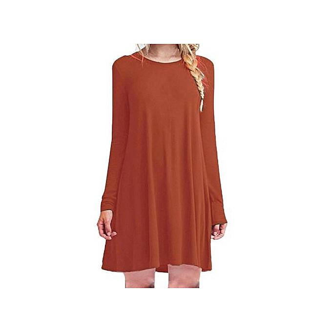 nouveauorldline femmes Loose Décontracté O-neck manche longue Ruffles Mini Robe à prix pas cher