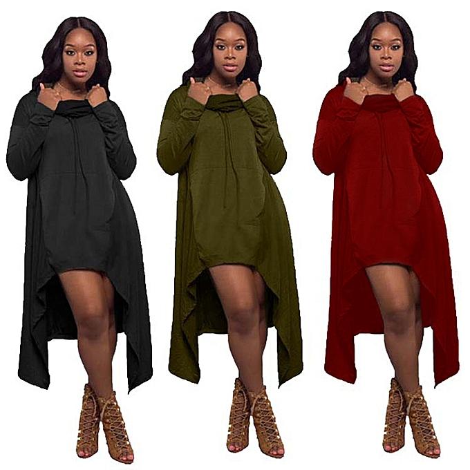Fashion Plus Taille femmes Autumn Blouse Long Sleeve Hooded Shirts Knee Length Cut Asymmetr à prix pas cher