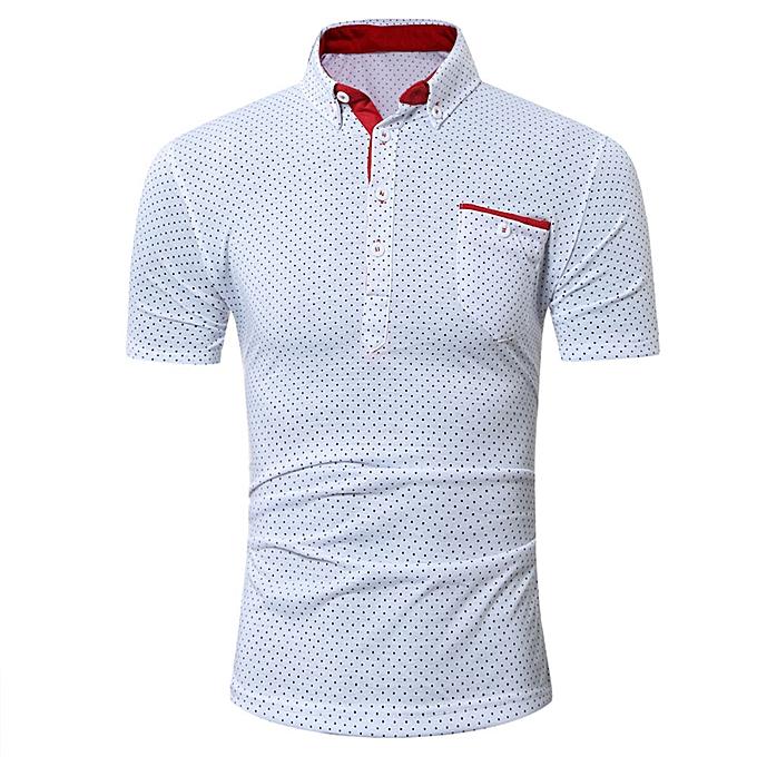 mode Pour des hommes Décontracté manche courte Shirt Affaires Slim  Shirt Dot Print chemisier Top WH L à prix pas cher