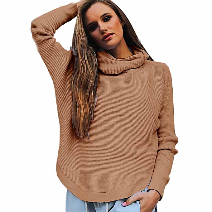 Fashion Hiamok femmes Loose Knitted Long Sleeve Jumper Sweater Ladies Casual Knitwear Tops à prix pas cher