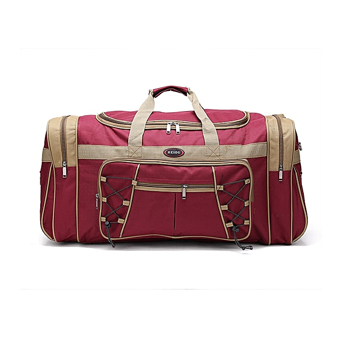 Other Thick Canvas Causal Duffle Bag Waterproof Mens Travel Bags Long Strap Anti-scratch Muliti-pocket Large Capacity Handbags L468(rouge) à prix pas cher