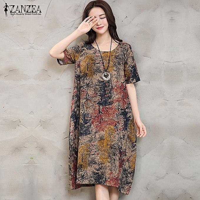 Zanzea femmes Cotton Printed Foral Short Sleeve Casual Loose Long Dress Kaftan Plus Taille à prix pas cher
