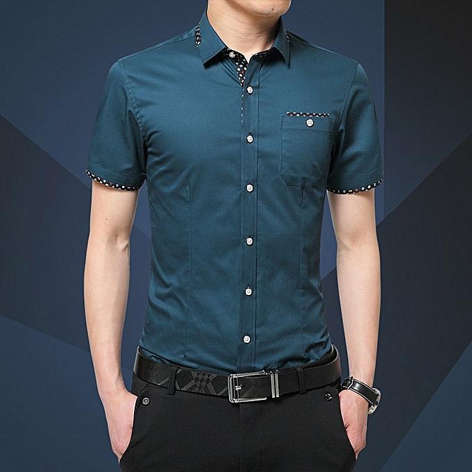 Tauntte Men's Shirts Short Sleeve Slim Fit Business Formal Shirts (Royal bleu) à prix pas cher