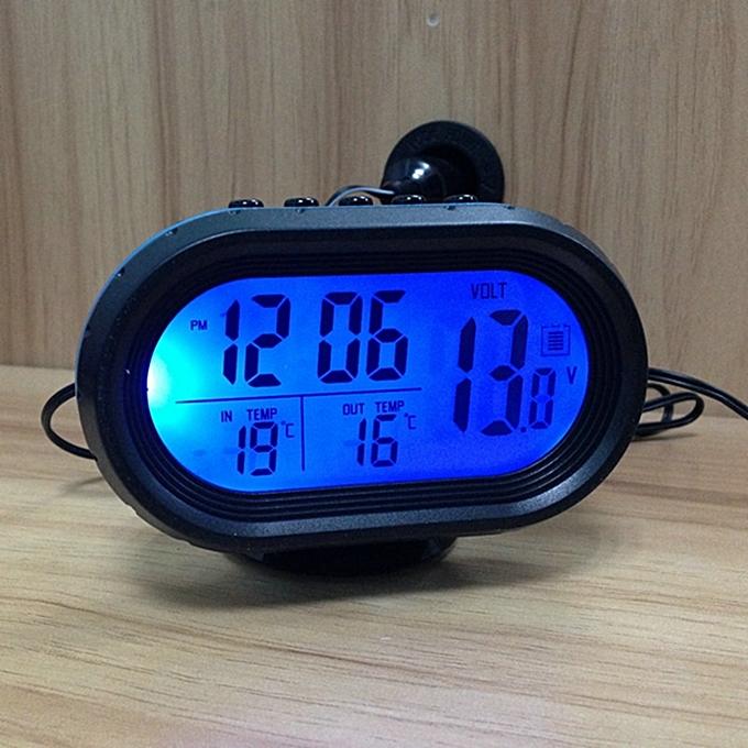 Other 12-24V Digital Auto LCD Display Backlight Temperature Thermometer Car Voltmeter Digital Tester Monitor Meter Voltage Alarm Clock LJMALL à prix pas cher