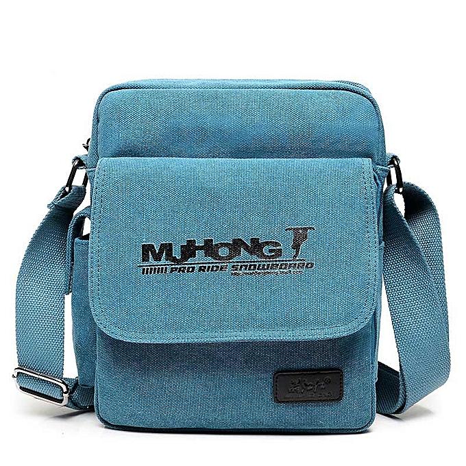 Other Fashion Printing Canvas Crossbody Bags For Men Multi-functional Casual Men Shoulder Messenger Bag Leisure Satchel Handbag 1092-4(bleu) à prix pas cher