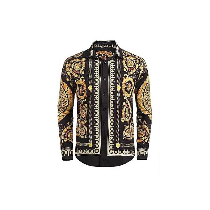 Generic Men Luxury Design Printing Long Sleeve Button Down Dress Shirts à prix pas cher