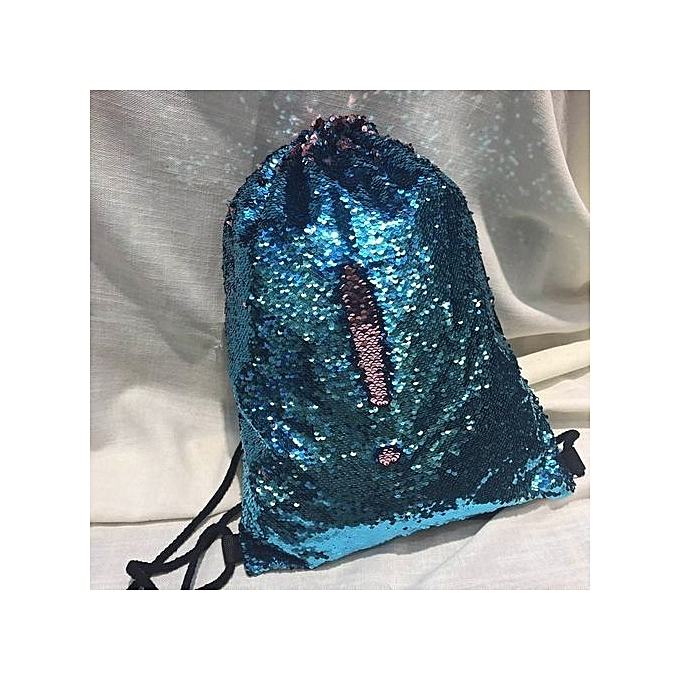 Neworldline Unisex Fashion Double Couleur Sequins Drawstring Bag Chest Bag Backpack SB-Sky bleu à prix pas cher