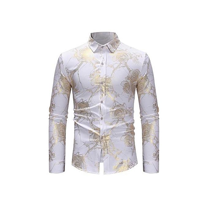 AFankara Gilding FFaibleer Tree Pattern Slim Shirt - blanc à prix pas cher