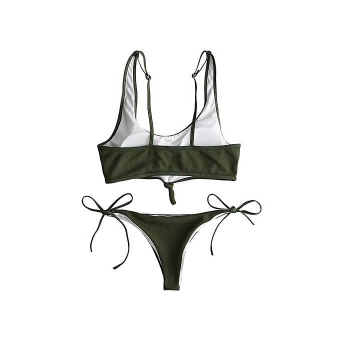 Fashion Ribbed String Low Waist Bikini Set_vert à prix pas cher