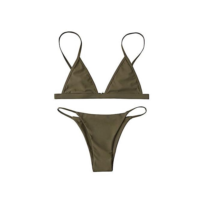 Fashion Spaghetti Strap String Bikini Set_ARMY vert_L à prix pas cher