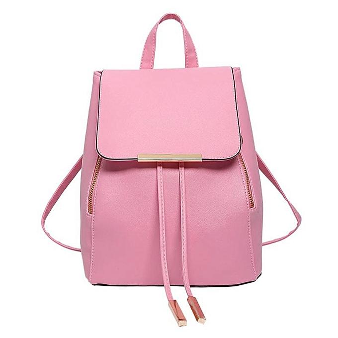 Other mode PU cuir sac à dos imperméable School sac Student sac à dos femmes Solid grand capacité Zipper voyage sac sac à doss(rose) à prix pas cher