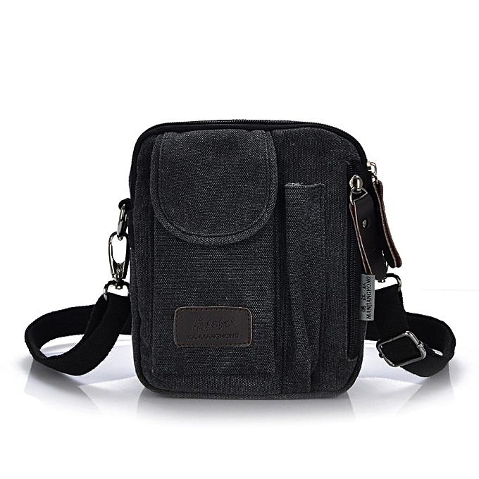 Other New Men's Crossbody Bags Best Quality Canvas Messenger Bags Men Leisure Shoulder Bag Men Designer Small Mini Handbags Briefcase(noir) à prix pas cher