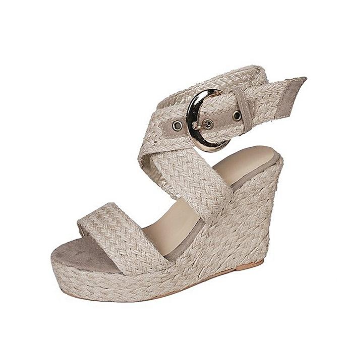 Other Summer Fashion Leisure Rohomme Retro Ribbon Fish Mouth Sandals-Beige à prix pas cher
