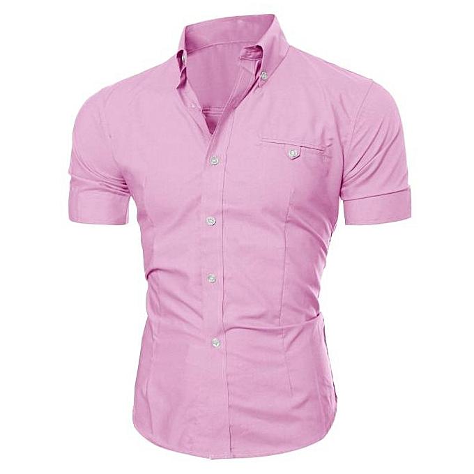 mode Hommes Luxury Affaires mode Slim Fit manche courte Décontracté Shirt PK L à prix pas cher