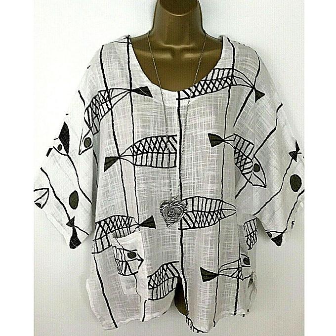 Fashion meibaol store femmes Casual Cute Print Blouse Half Sleeve Shirt Round Neck Pocket Tops à prix pas cher