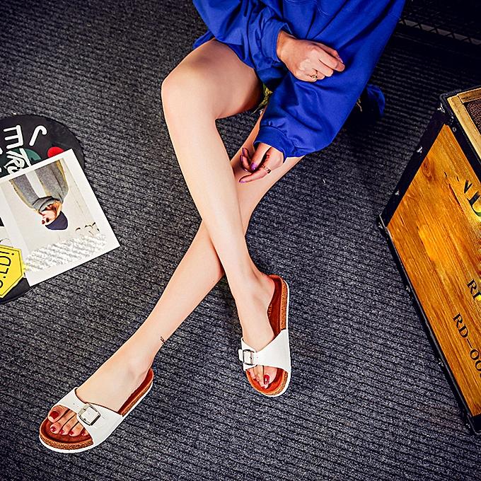 mode (Xiuxingzi) femmes mode Buckles Cork Flats Double Buckles plage Slippers chaussures Post Sandal à prix pas cher