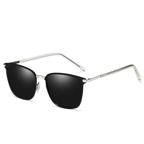 233169524d2cca Men Fashion UV400 Square Frame Polarized Sunglasses (Silver + Black)