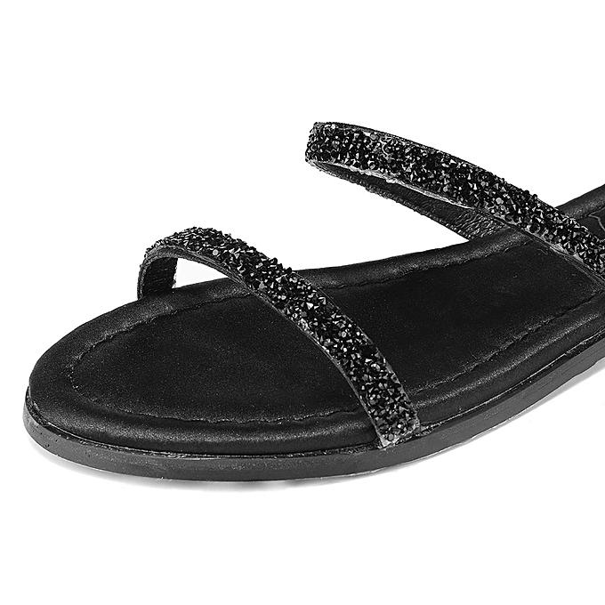 Fashion New WoHommes WoHommes WoHommes  Flash Bling Diamante Rhinestone Sequins Coil Ankle Leg Wrap Strappy Gladiator Flat Sandal Open Toe Shoes à prix pas cher    Jumia Maroc 377556