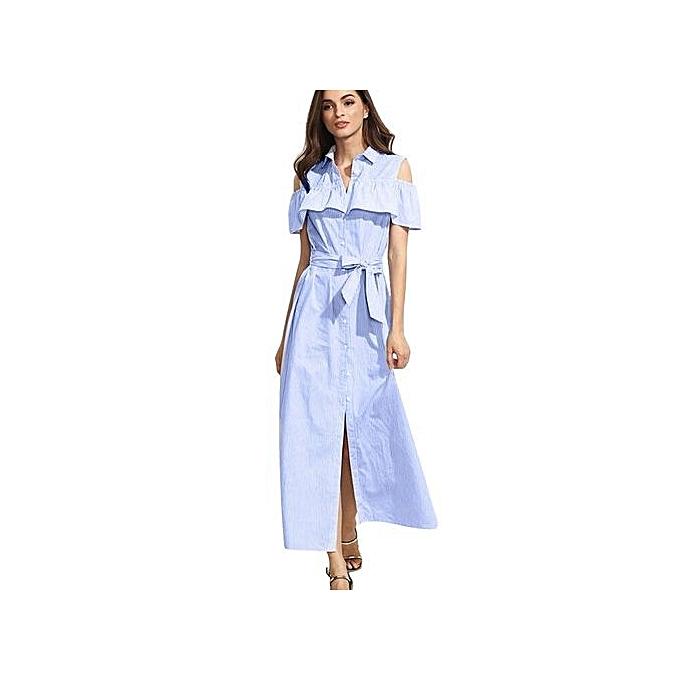 Generic HL Long Turn Down Collar Lotus rayé femmes Robe With Belt (Medium bleu)(S-XL) à prix pas cher