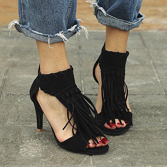 Générique Sedectres WoHommes 's Shoes Platform     Sandals Ankle Tassel Zip Peep Toe High Heel Shoes-Black à prix pas cher    Jumia Maroc 7bb811