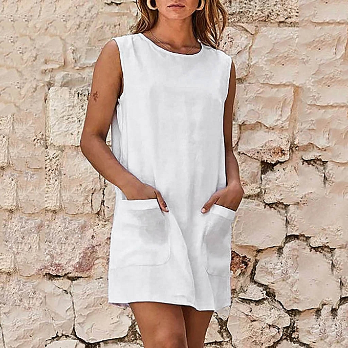 Fashion whiskyky store femmes Casual O Neck Sleeveless Summer Solid Linen Mini Dress With Pockets à prix pas cher