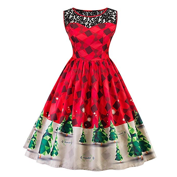 Generic Xiuxingzi femmes Print Lace Christmas Tree Firefly Checkerouge Vintage Snow Swing Robe L à prix pas cher