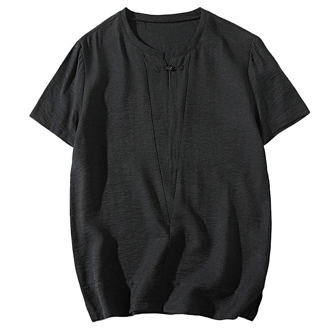 Fashion Men Solid Classic Kung Fu Shirt Tops Tang Suit Short Sleeve Cotton Blouse BK L -noir à prix pas cher