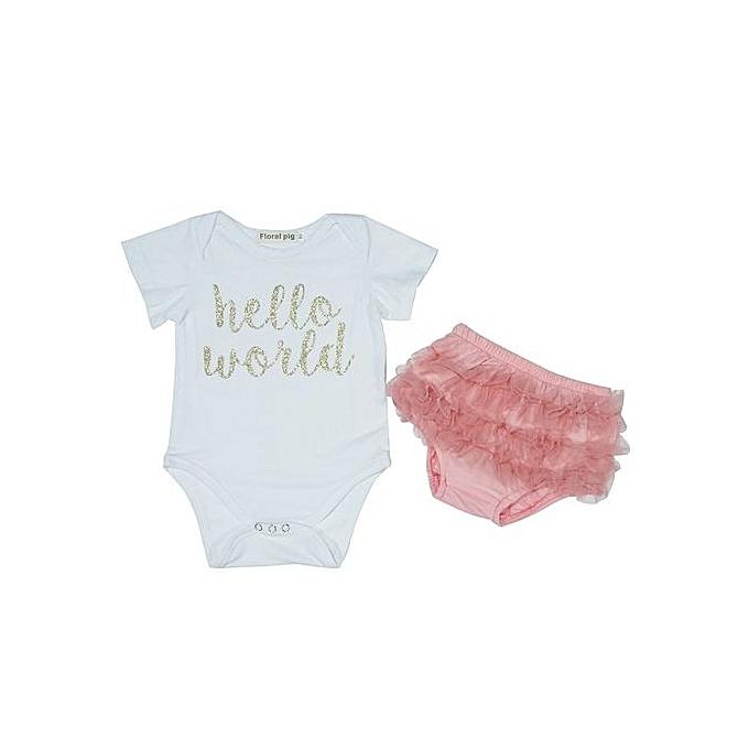 BleuLife 2pcs Infants Hello World Printed Romper Tulle courtes -blanc&rose à prix pas cher