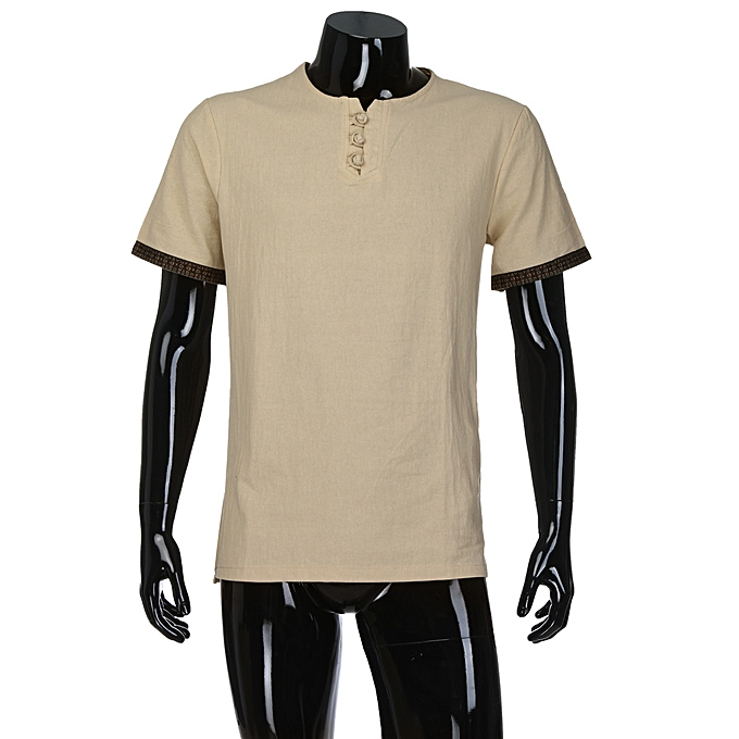 Fashion Men's Summer Casual Linen and Cotton Short Sleeve V-Neck T-shirt Top Blouse Tee -Khaki à prix pas cher