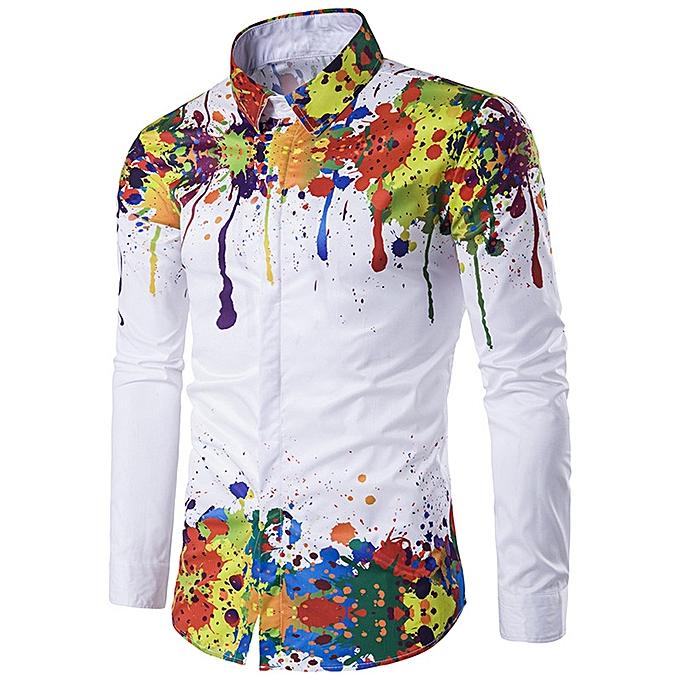Fashion Men Shirt Long Sleeve 3D Splash Ink Print Shirts Casual Blouse Plus Taille MR L à prix pas cher