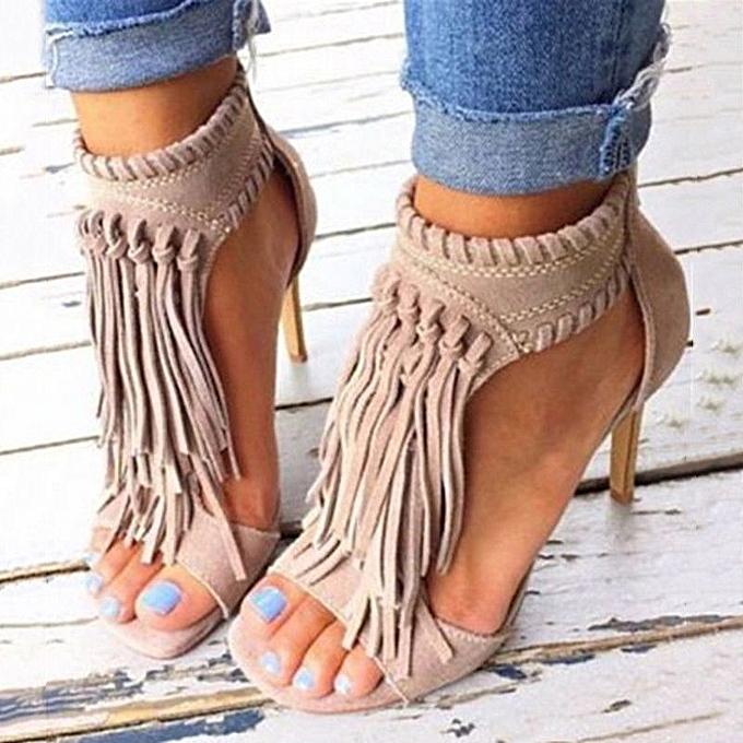 Fashion femmes Sandals Ankle Peep Toe Tassels talons hauts Casual chaussures à prix pas cher